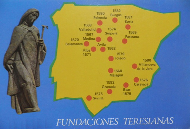 Mapa de la fundaciones de Santa Teresa en Sevilla